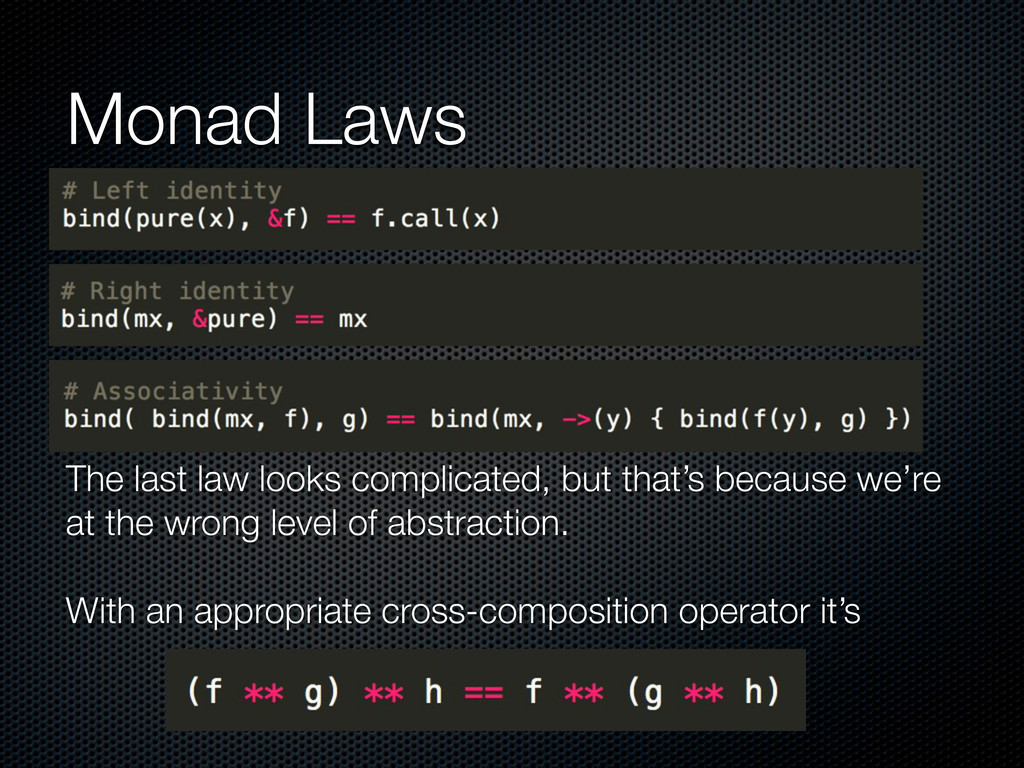 Monad Laws The last law looks complicated, but ...
