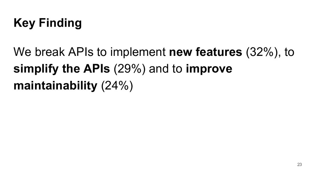 Key Finding We break APIs to implement new feat...