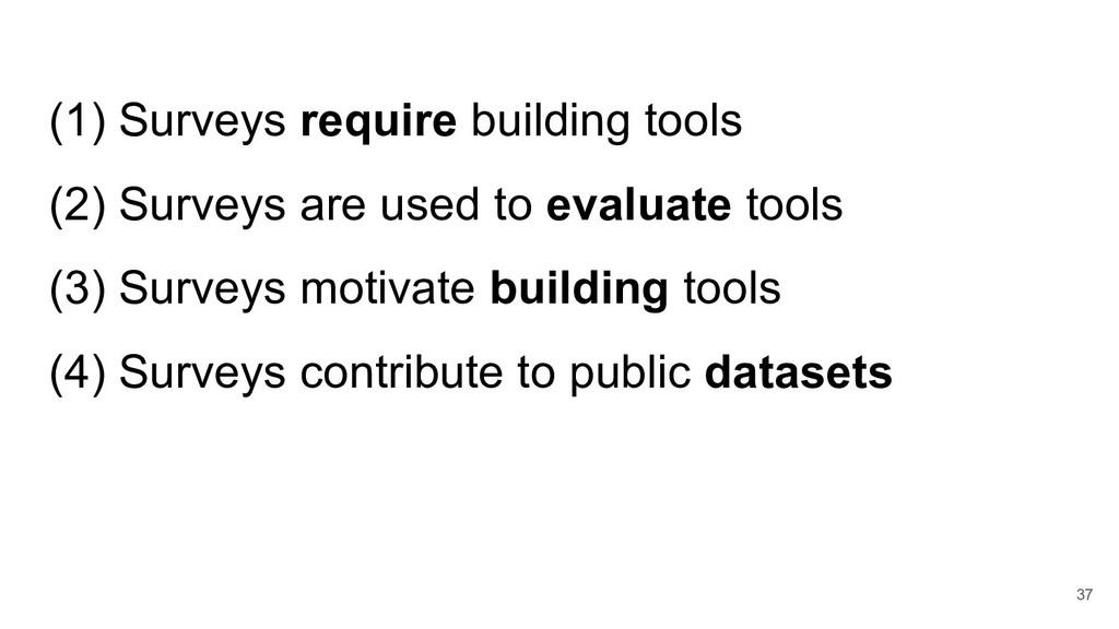 (1) Surveys require building tools (2) Surveys ...