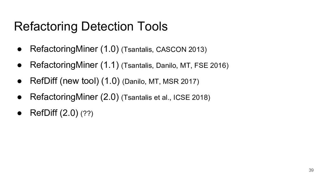 Refactoring Detection Tools ● RefactoringMiner ...
