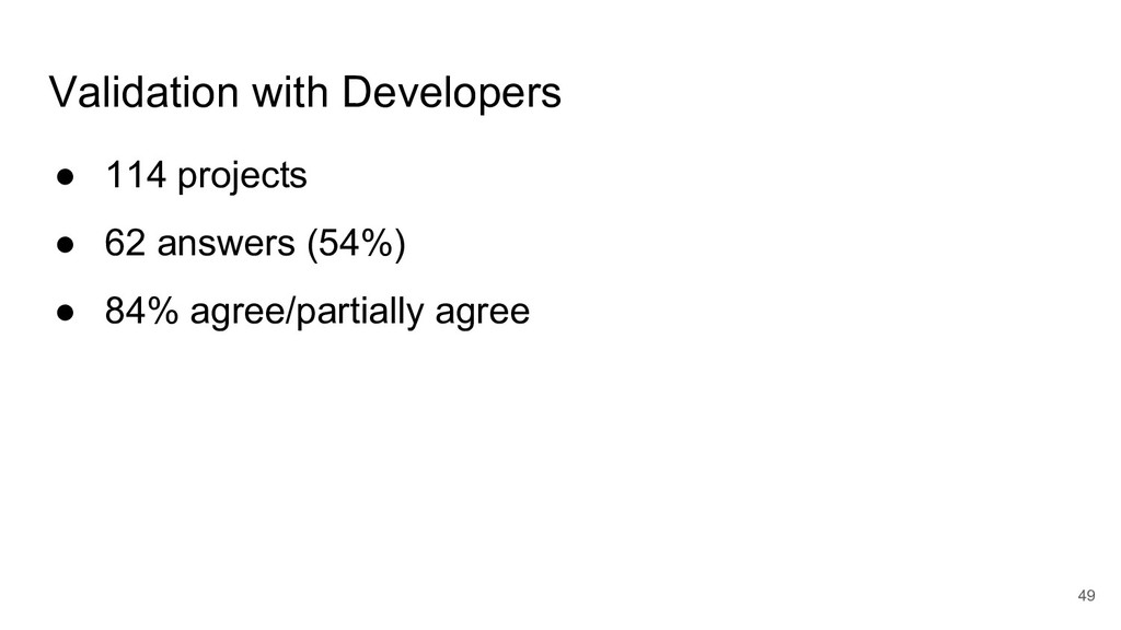 Validation with Developers ● 114 projects ● 62 ...