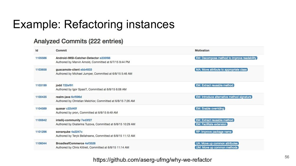 Example: Refactoring instances 56 https://githu...