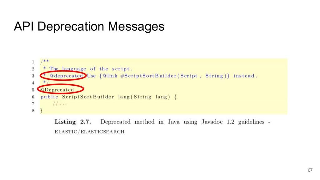 67 API Deprecation Messages