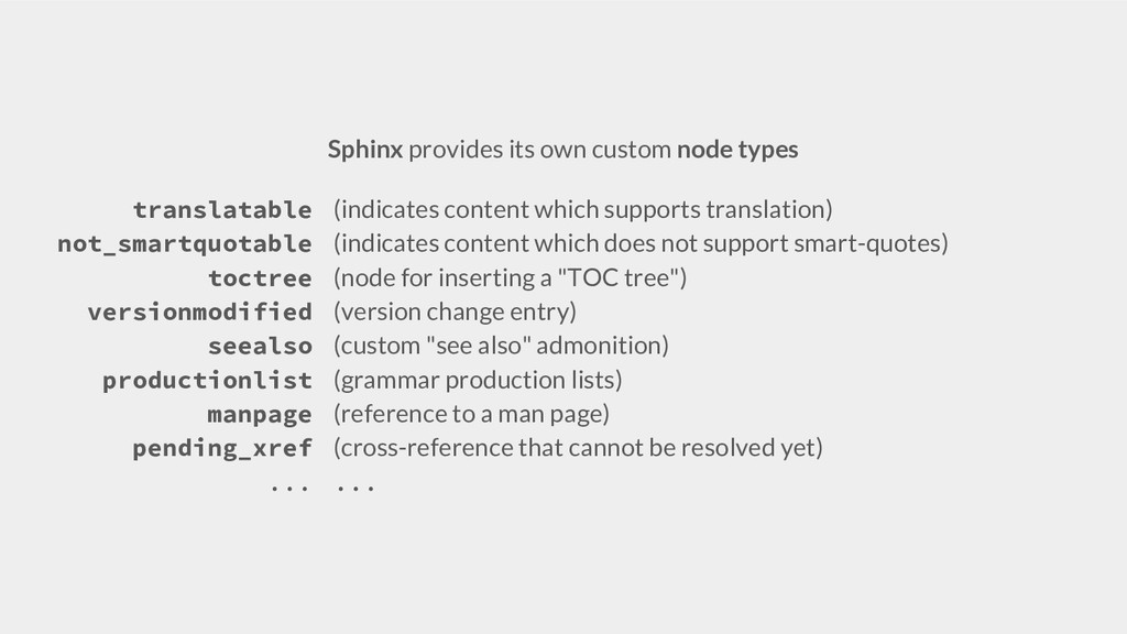 Sphinx provides its own custom node types trans...