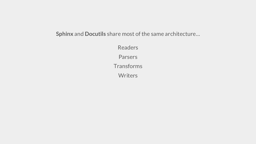 Sphinx and Docutils share most of the same arch...