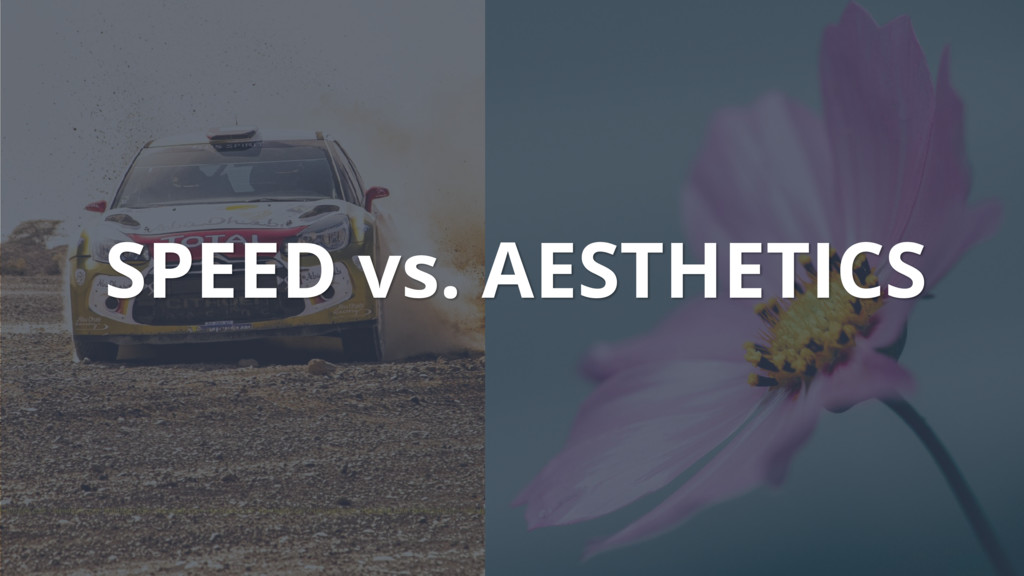 SPEED vs. AESTHETICS