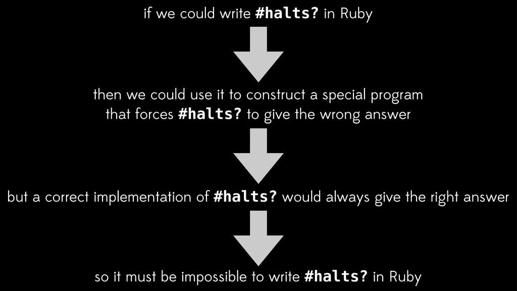 if we could write #halts? in Ruby so it must be...