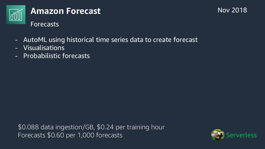 Amazon Forecast Forecasts Nov 2018 Serverless $...