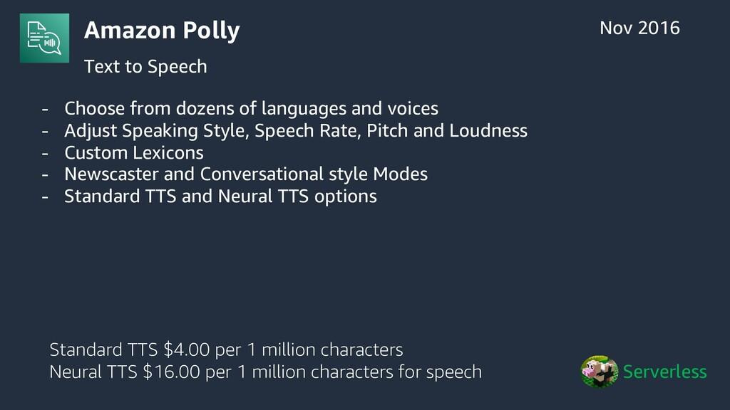 Amazon Polly Text to Speech Nov 2016 Serverless...
