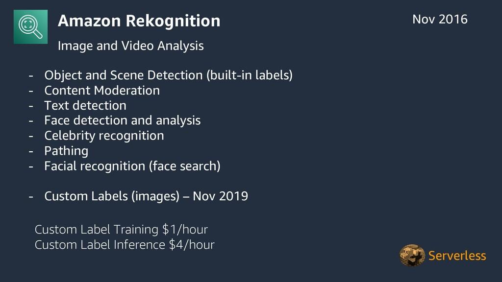 Amazon Rekognition Image and Video Analysis Nov...