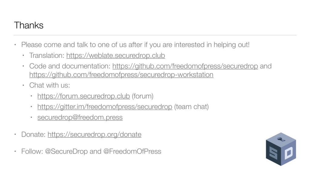 Thanks • Please come and talk to one of us afte...