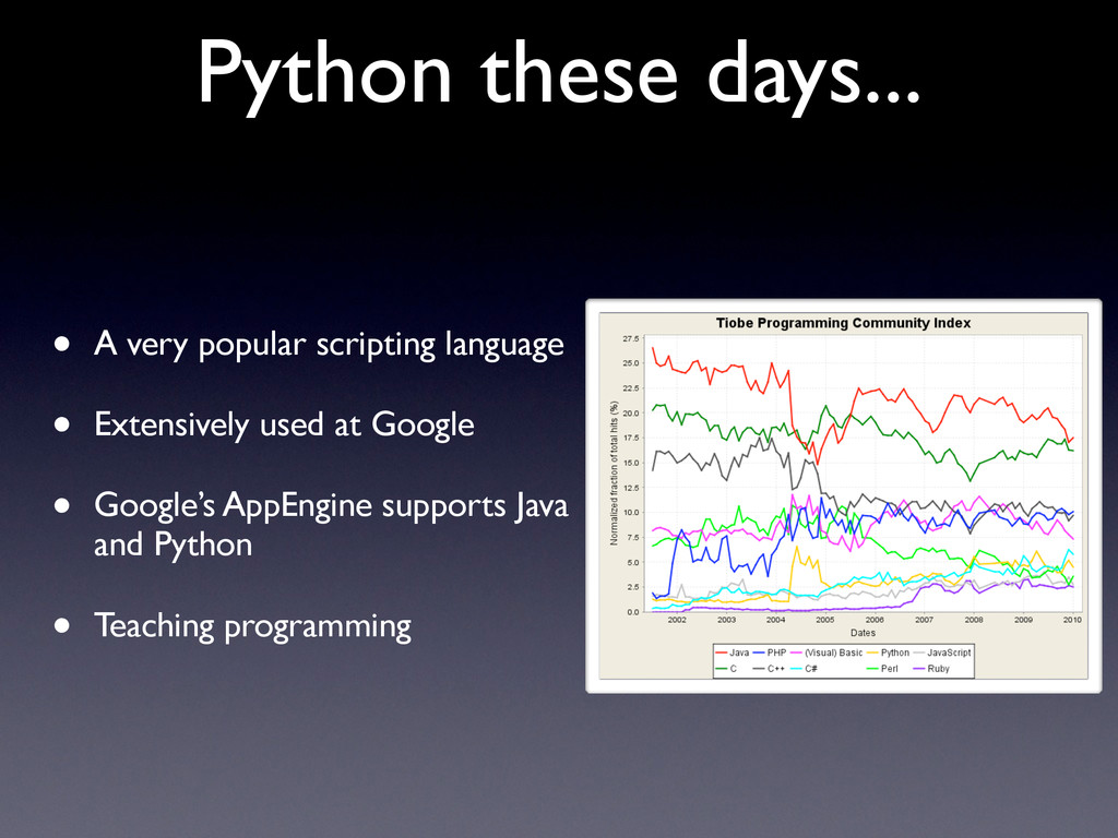 Python these days... • A very popular scripting...