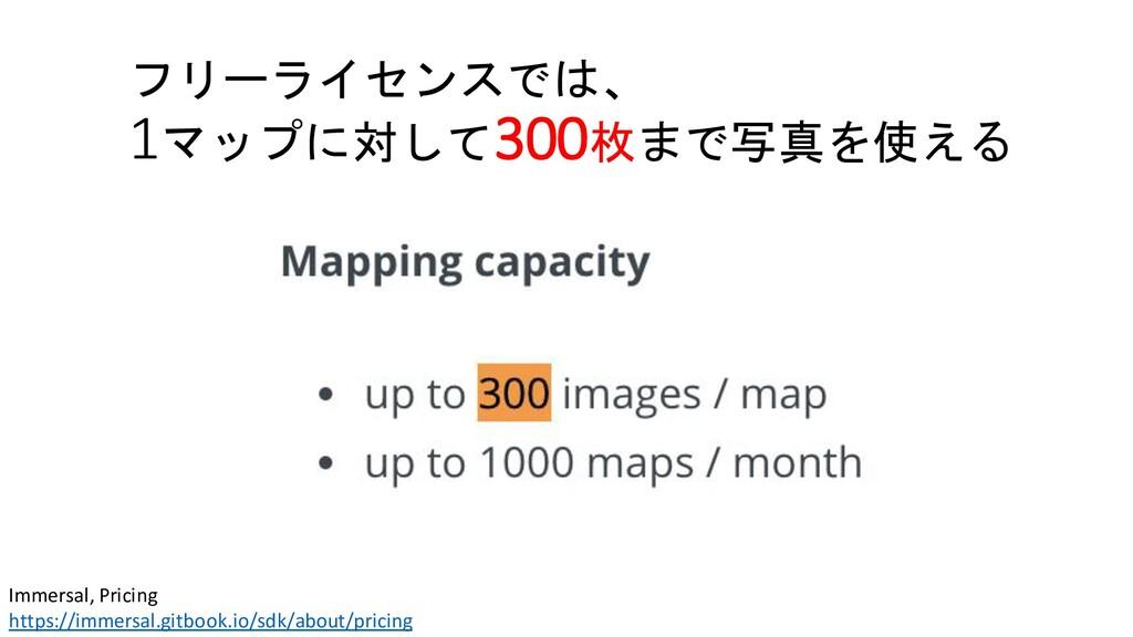 フリーライセンスでは、 1マップに対して300枚まで写真を使える Immersal, Pric...
