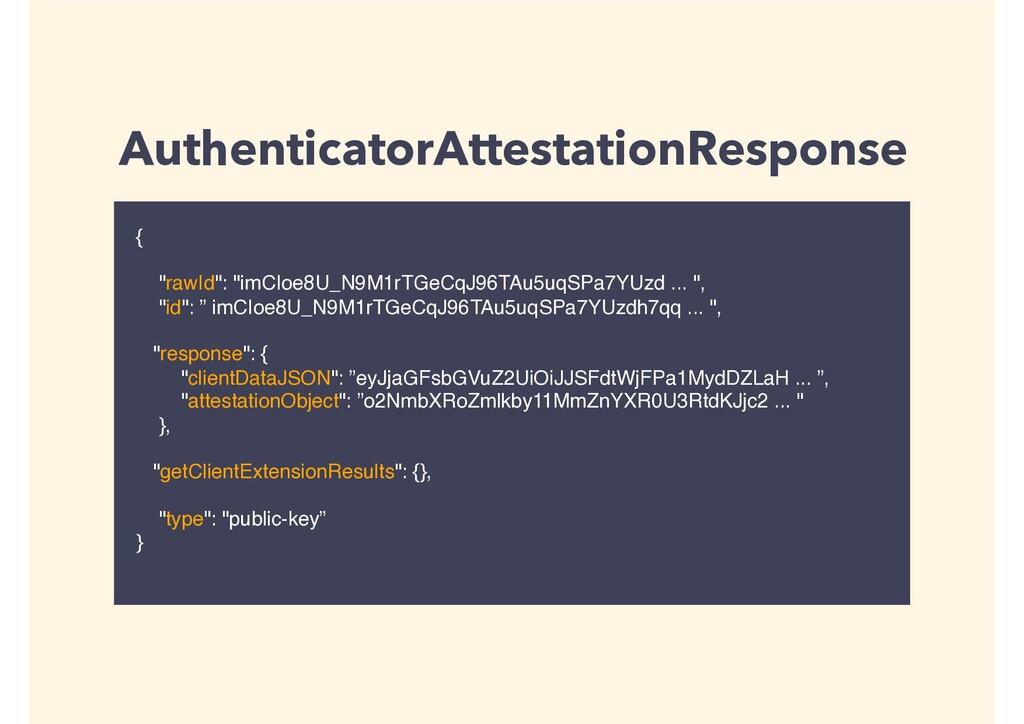 "AuthenticatorAttestationResponse { ""rawId"": ""im..."