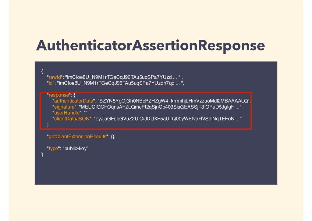 "AuthenticatorAssertionResponse { ""rawId"": ""imCI..."