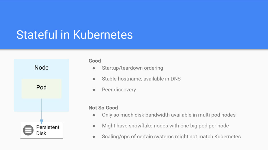 Stateful in Kubernetes Good ● Startup/teardown ...