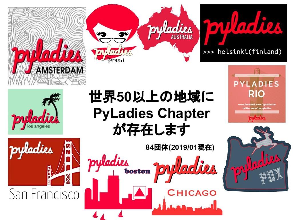 世界50以上の地域に PyLadies Chapter が存在します 84団体(2019/01...