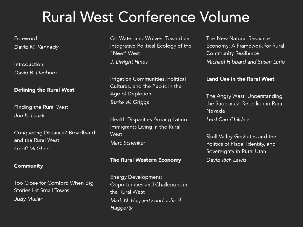 Rural West Conference Volume Foreword David M. ...
