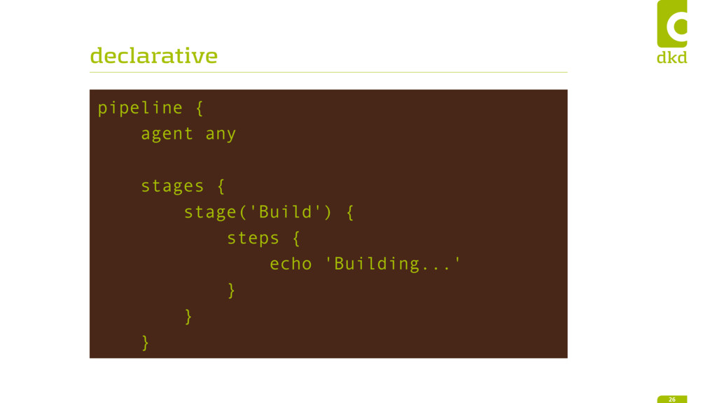 declarative pipeline { agent any stages { stage...