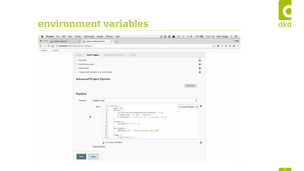 environment variables 37