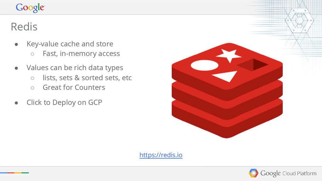 Redis ● Key-value cache and store ○ Fast, in-me...