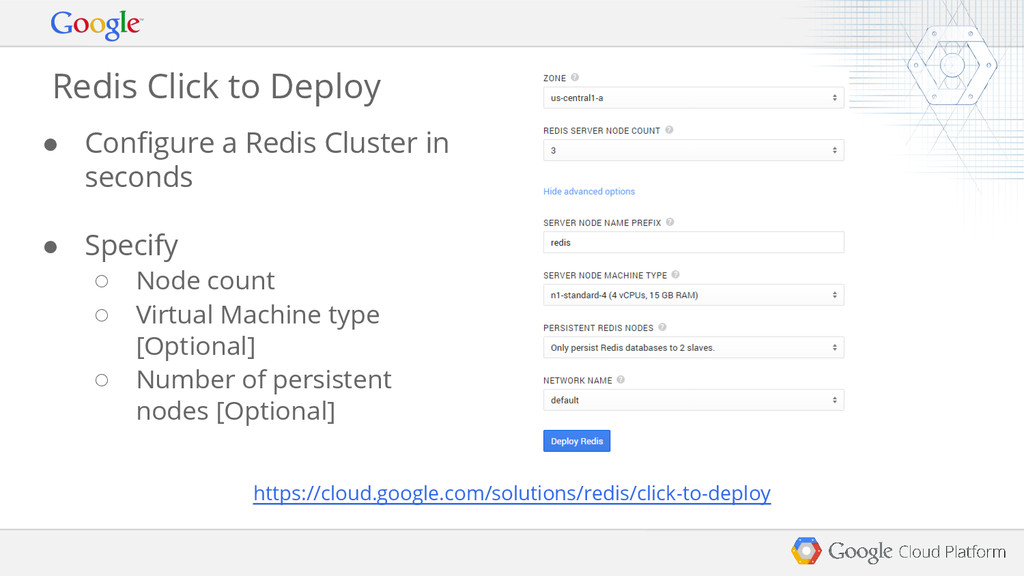 Redis Click to Deploy ● Configure a Redis Clust...