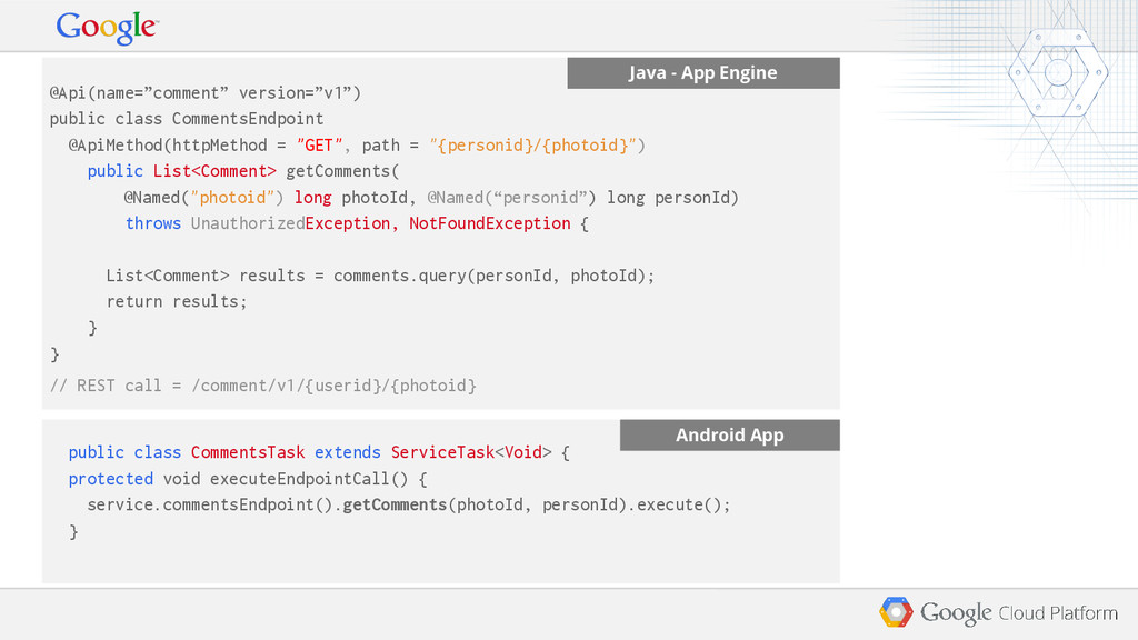"Java - App Engine @Api(name=""comment"" version=""..."