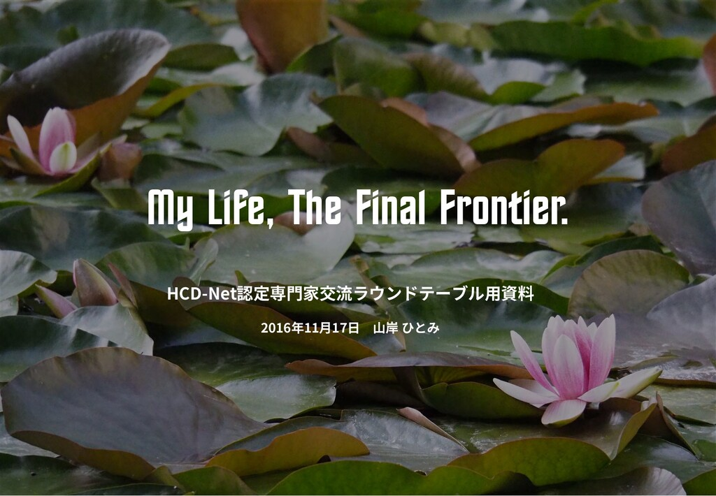 My Life, The Fin^l Frontier. HCD-Net 2016 11 17