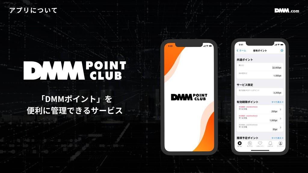 アプリについて 「DMMポイント」を 便利に管理できるサービス