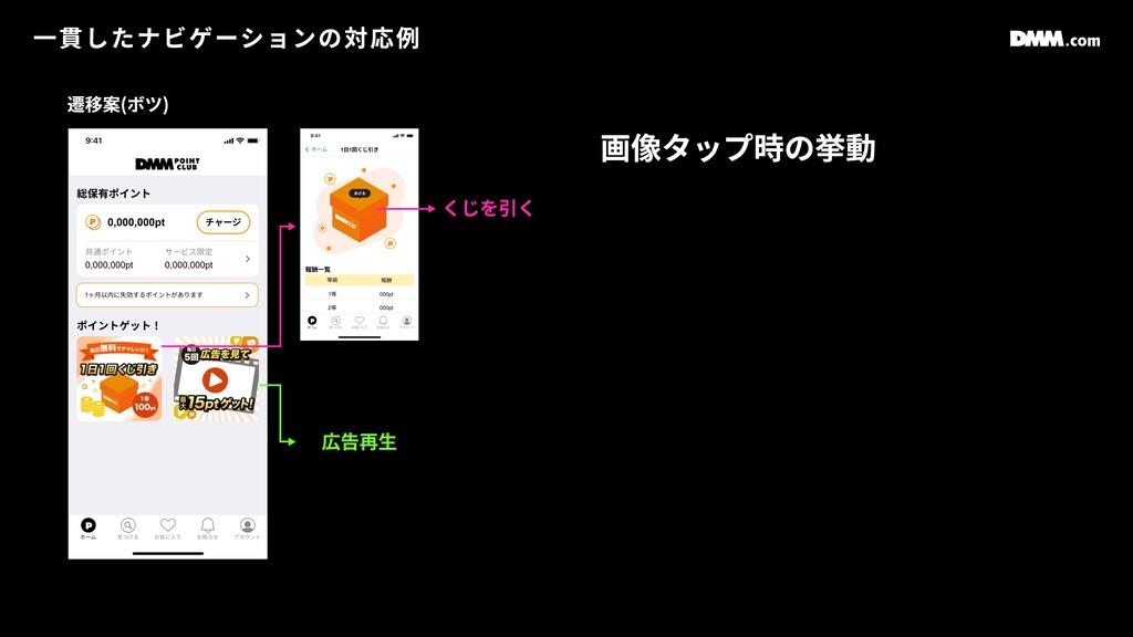 ⼀貫したナビゲーションの対応例 画像タップ時の挙動 くじを引く 広告再⽣ 遷移案(ボツ)