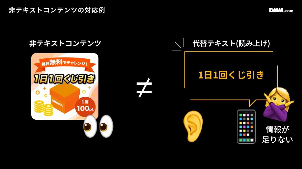 ⾮テキストコンテンツの対応例 👀 1⽇1回くじ引き 👂 ⾮テキストコンテンツ 代替テキスト(読...
