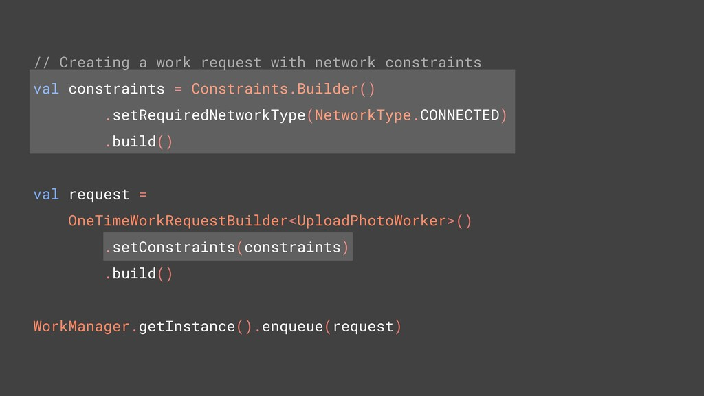 // Creating a work request with network constra...