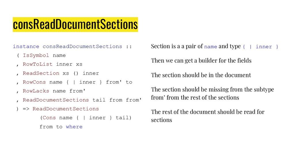 consReadDocumentSections instance consReadDocum...