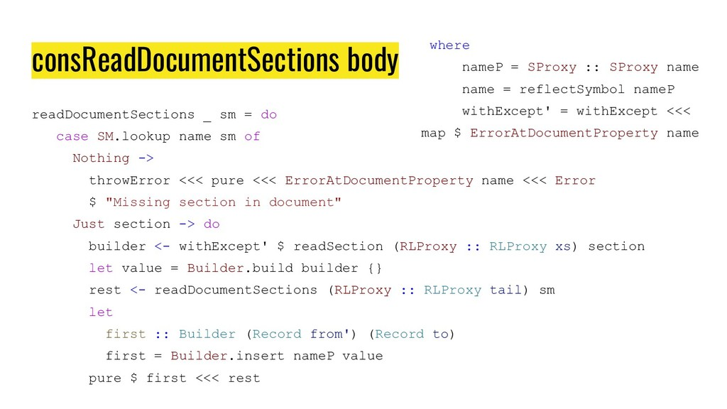 consReadDocumentSections body readDocumentSecti...