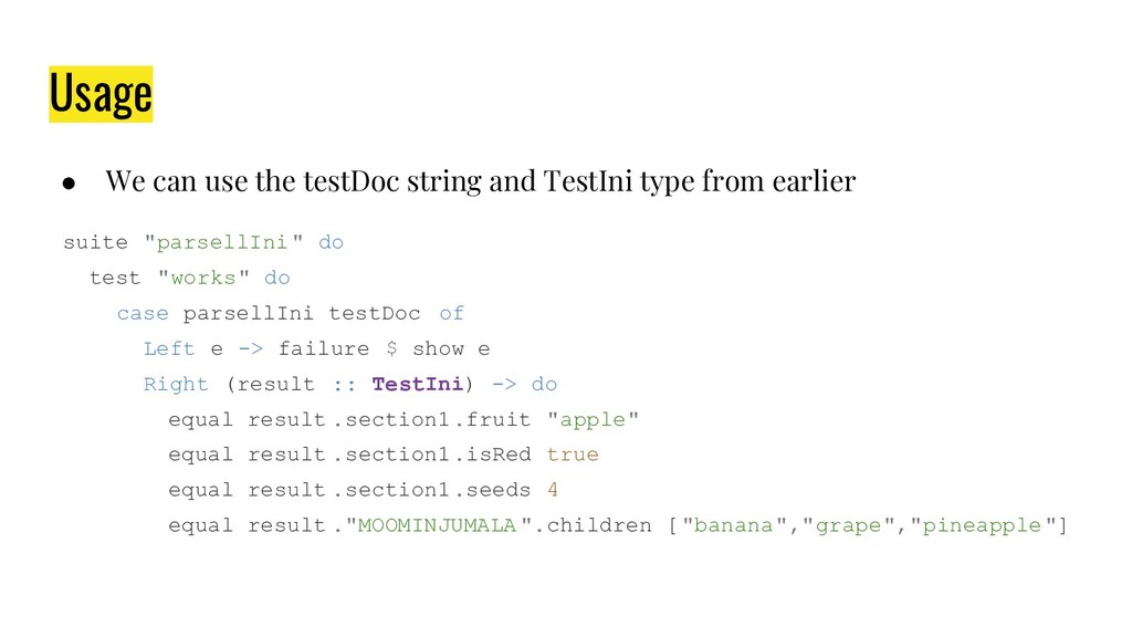 Usage ● We can use the testDoc string and TestI...