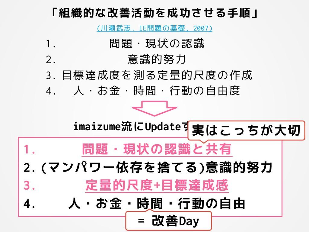「組織的な改善活動を成功させる手順」 (川瀬武志. IE問題の基礎, 2007) 1. 問題・...