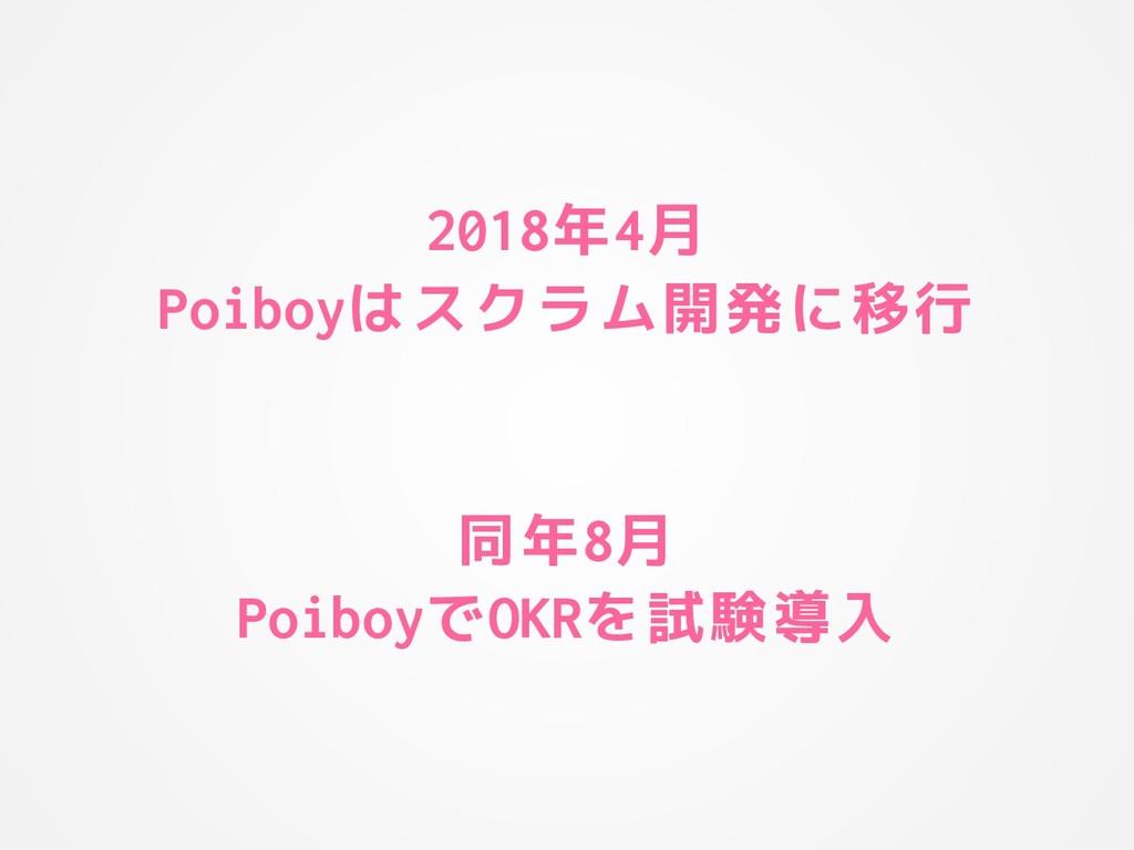 2018年4月 Poiboyはスクラム開発に移行 同年8月 PoiboyでOKRを試験導入