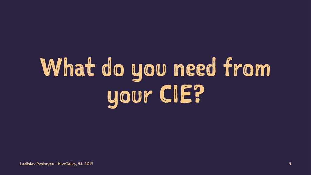 What do you need from your CIE? Ladislav Prskav...