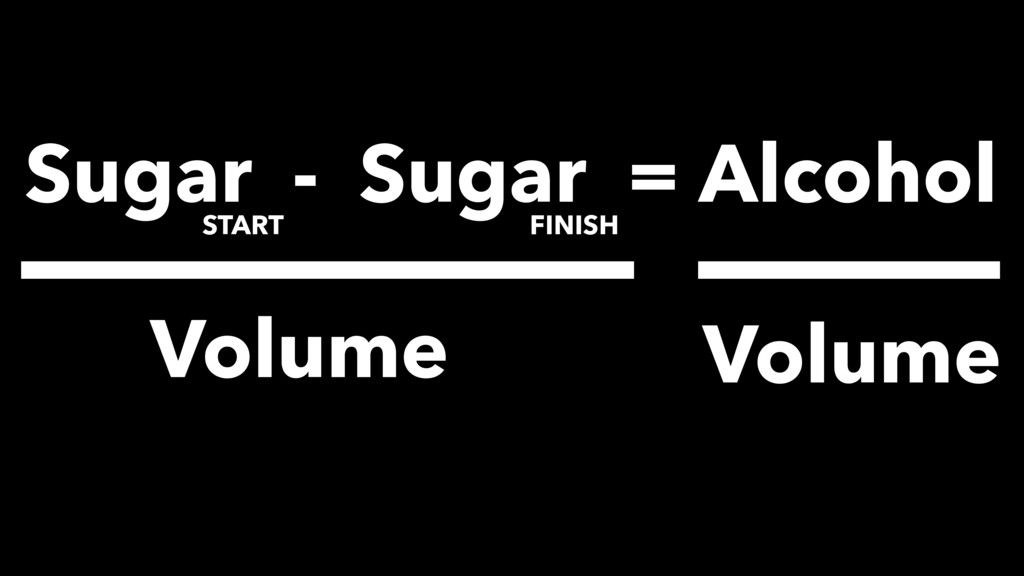 Sugar - Sugar = Alcohol START FINISH Volume Vol...