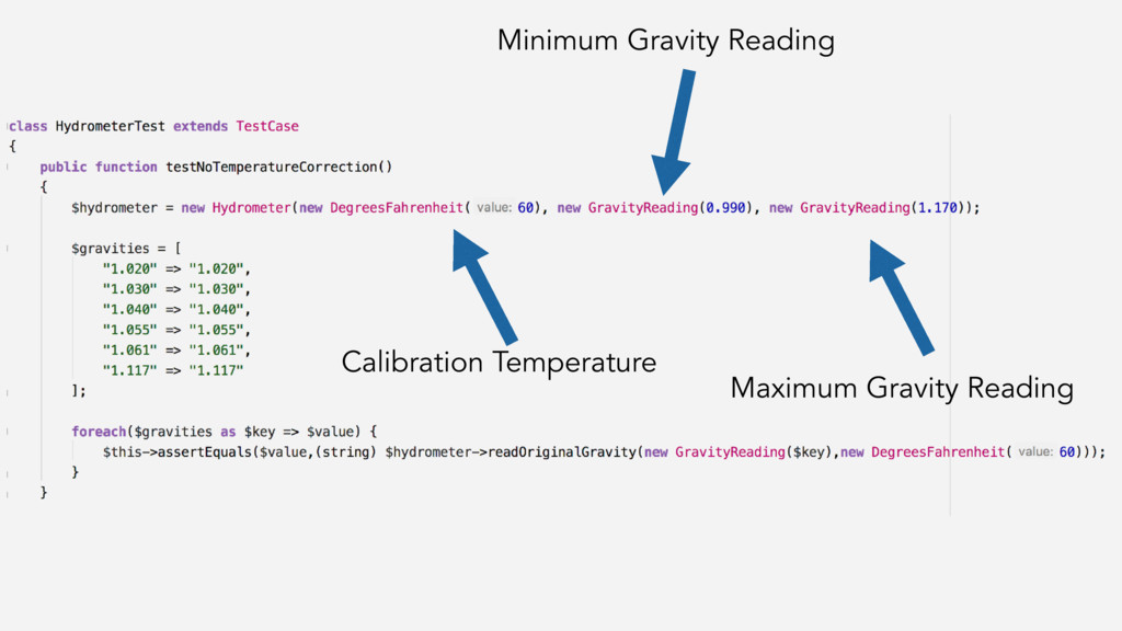 Calibration Temperature Minimum Gravity Reading...