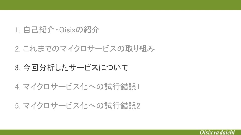 1. 自己紹介・Oisixの紹介  2. これまでのマイクロサービスの取り組み  3....