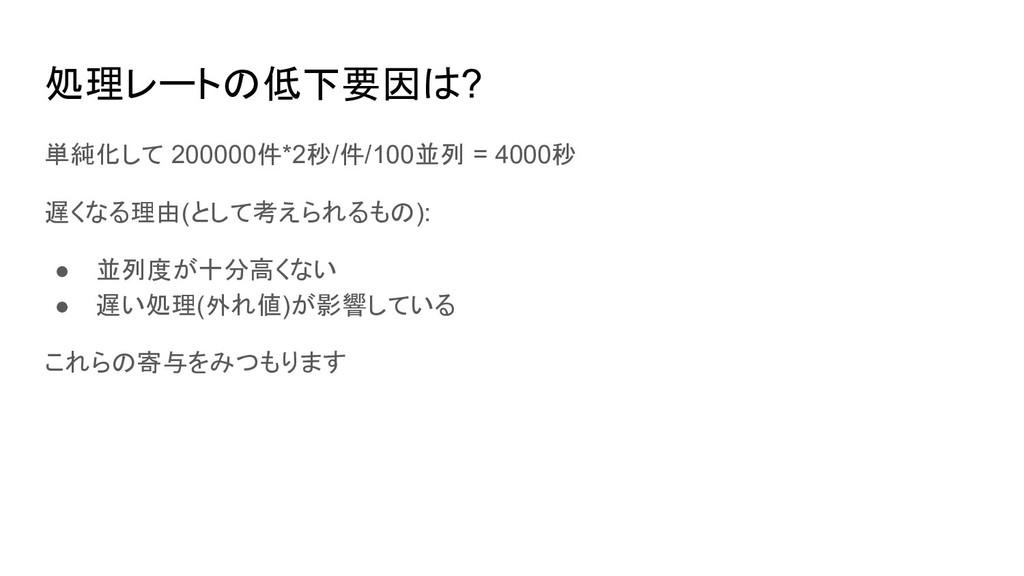 処理レートの低下要因は? 単純化して 200000件*2秒/件/100並列 = 4000秒 遅...