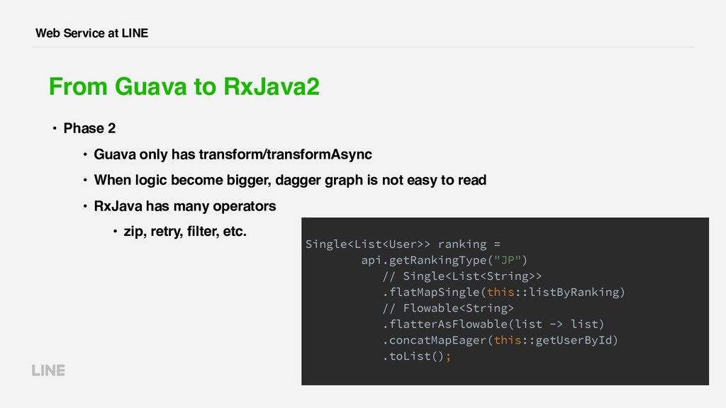 Web Service at LINE From Guava to RxJava2 • Pha...