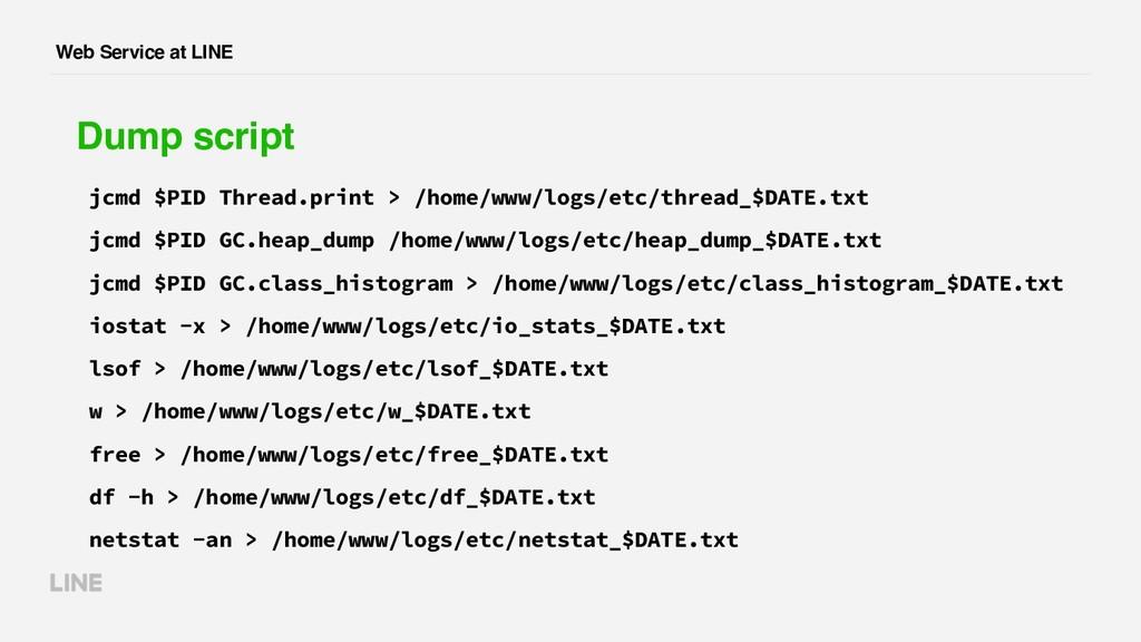 Web Service at LINE Dump script jcmd $PID Threa...