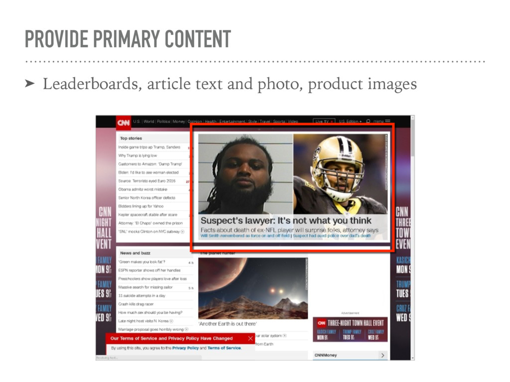 PROVIDE PRIMARY CONTENT ➤ Leaderboards, article...