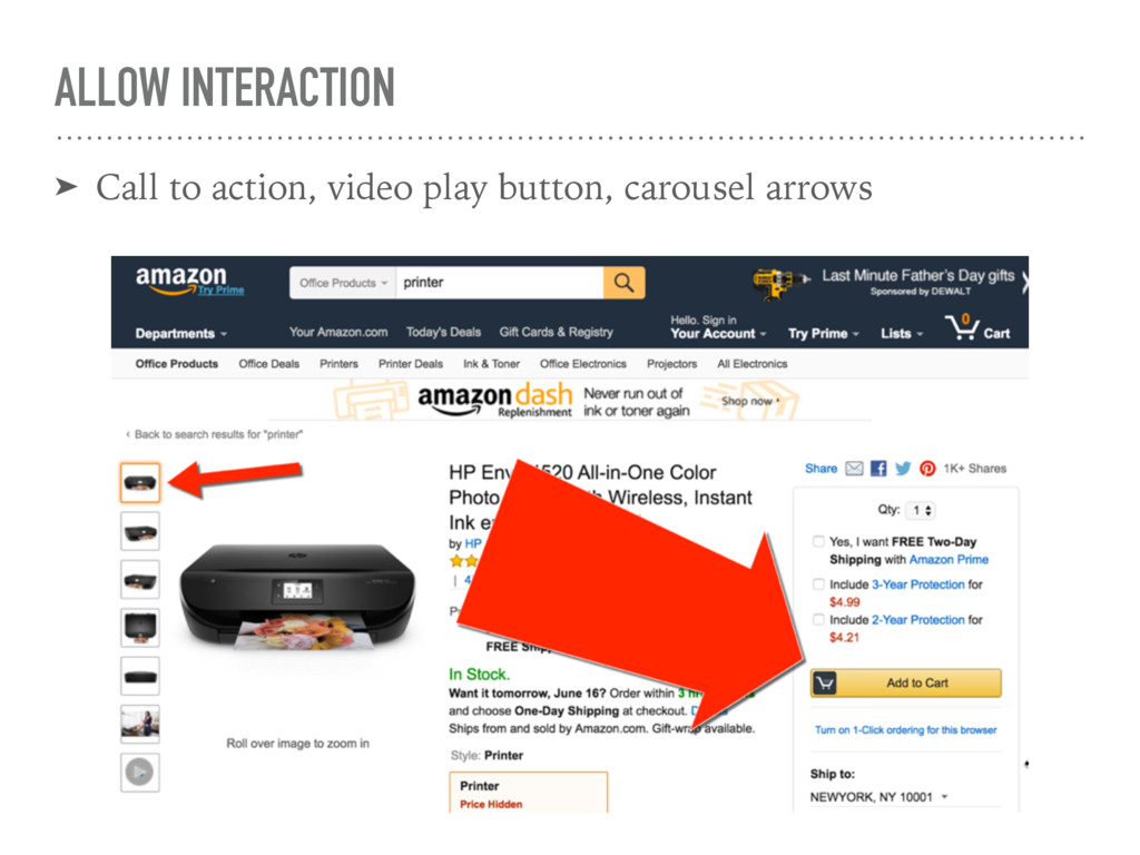 ALLOW INTERACTION ➤ Call to action, video play ...