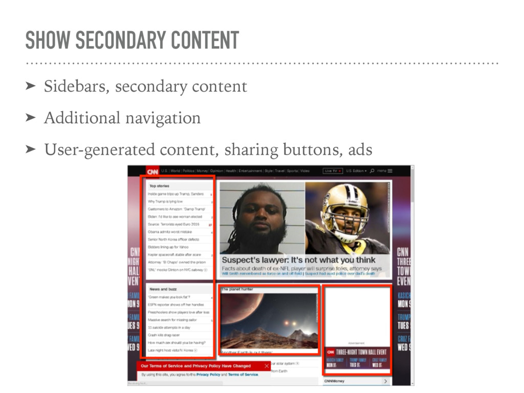 SHOW SECONDARY CONTENT ➤ Sidebars, secondary co...