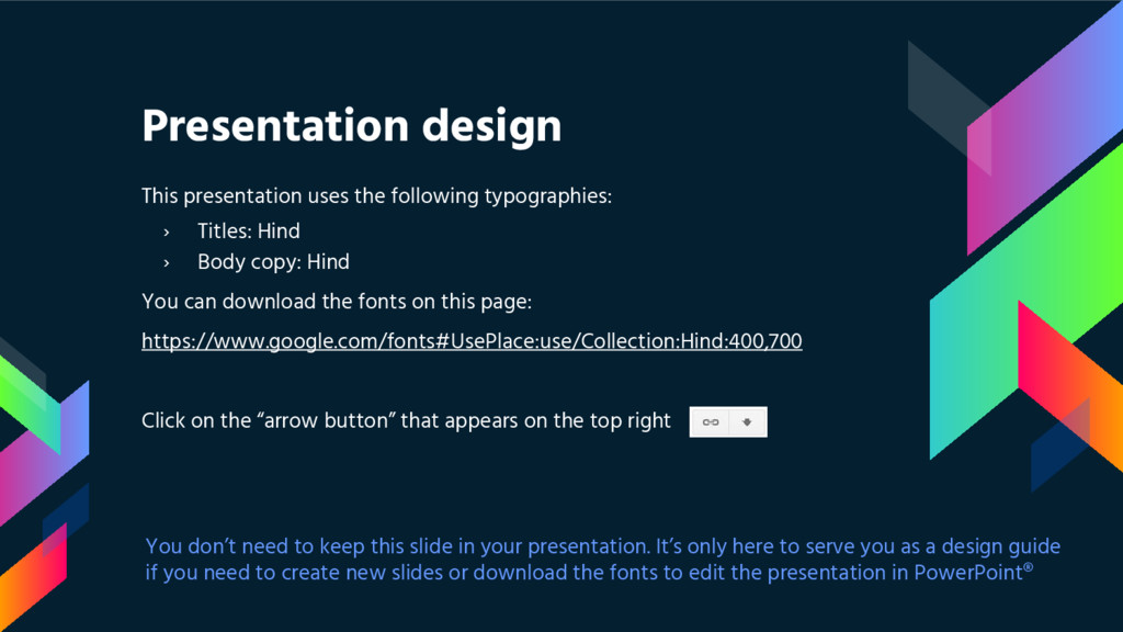 Presentation design This presentation uses the ...