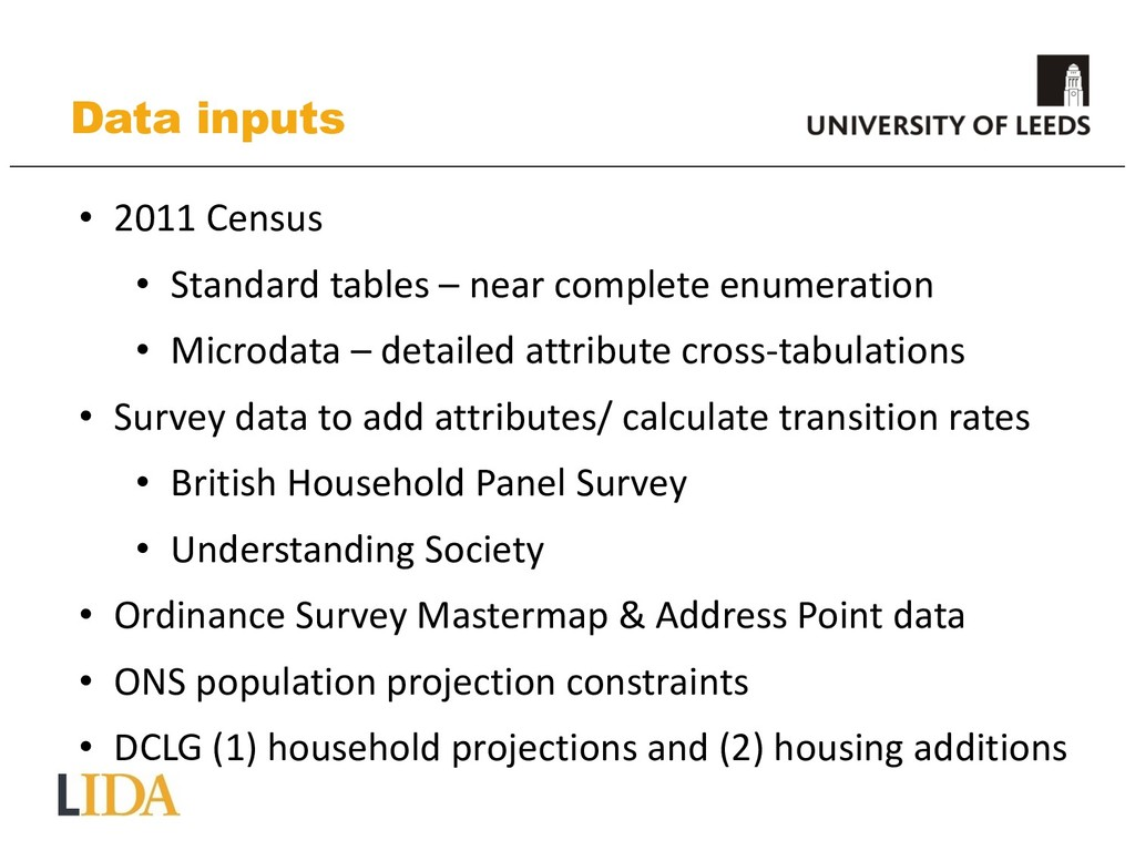 Data inputs • 2011 Census • Standard tables – n...