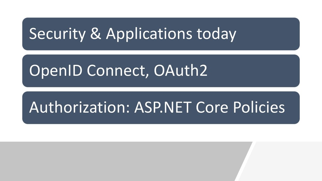Security & Applications today OpenID Connect, O...
